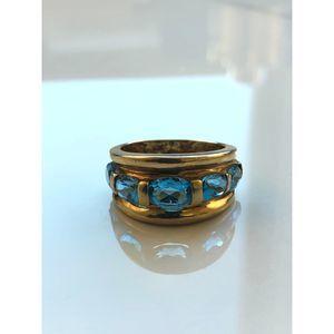 Jewelry - Vintage 5-stone Aquamarine 10k yellow gold ring
